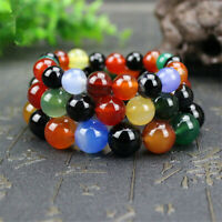 6/8/10mm Natural Multicolor Agate Round Gemstone Beads Stretch Bracelet 7.5''