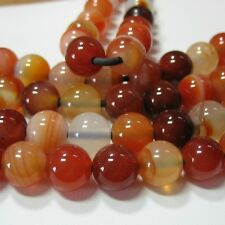 """Carnelian Agate 12mm Round Beads 2mm Large Hole 8"""" Strand Leather Wire Wrap"""