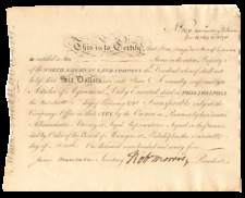 North American Land Company signed by Robert Morris
