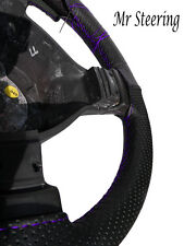 FOR BMW E60 E61 REAL BLACK PERFORATED LEATHER STEERING WHEEL COVER PURPLE STITCH