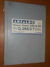 ANSALDO MOTORI DIESEL TIPO Q.265/3÷7 MARINO E INDUSTRIALE - ISTR. E MANUTENZIONE