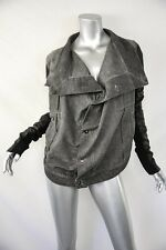 RICK OWENS DRKSHDW Grey+Black Corduroy+Leather Standing Collar Jacket Coat L