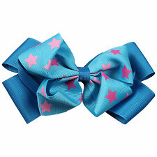 Oversized Hair Bow Bright Stars Blue Extra Large