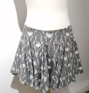 All Saints Uk 10 Grey Ikat Print Kadiri Ruffle Skirt Low Waist Button Detail