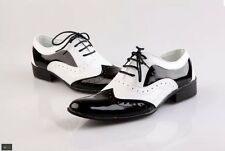 Mens Brogues Wing Tip Leather Dress formal Shoes Lace Up Dance White Black Shoes