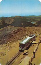 PIKES PEAK COLORADO STREAMLINE COG RAILROAD TRAIN ~SUMMIT PANORAMA POSTCARD 1960
