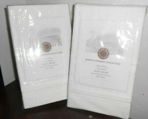 NEW SET of 3 MARTHA STEWART White TROUSSEAU KING Size shams lace insert