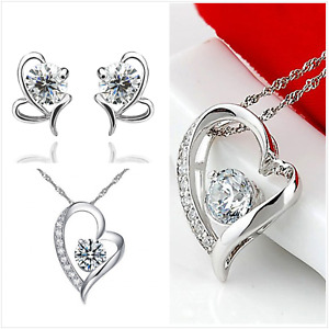 """UK Gift Boxed CZ """"Sparkling Heart"""" Sterling Silver Jewellery Set"""