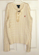Ralph Lauren NWT Girl Classic Ivory 100% Cotton Knit Ruffle Cable Sweater XL 16