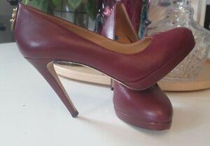 Womens Authentic Michael Kors Red Wine Heels Size Uk 3.5