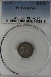 1833  H10C  PCGS  XF 45      1800's Half Dime, CAPPED BUST  Half Dime, 5 cent