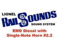 Lionel EMD Diesel RailSounds Sound System -- Single-Note Horn #2.2 -- F-3 etc.