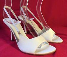 NEW BRIDAL WEDDING SHOES/HEELS  PEEPTOE STYLE GILL IVORY SATIN Size  10 AU .