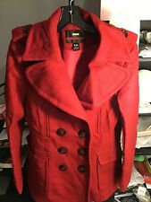 M60 Miss Sixty L Red Wool Blend Belt Pea Coat Jacket In Excellent Condition