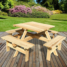 8 SEATER OUTDOOR PICNIC TABLE BENCH SEAT PUB GARDEN PARK PLAYGROUND SQUARE WOOD