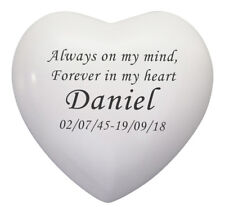 Always and Forever Personalised White Heart Urn Keepsake Ash Cremation Cremains