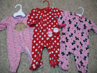 LOT Of 3 Pc Baby toddler girl Size 3-6 month Clothes sleeper Fall Winter EUC!