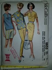 Skirt Blouse Ascot Pants Shorts Sewing Pattern 12 McCalls 6653 Cut Complete