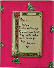 """Paris Restaurant c1920s Menu w/ Lilly Pulitzer Pink & Lime Bumblebee Frame"""