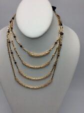 $34 Steve Madden gold  tone multi layer tiger eye  necklace HA 45