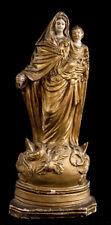 Vierge à l'enfant 1841 Plâtre doré signé Joseph Henri DEWEZ (XIX) Namur Belge