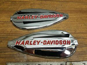 Genuine Harley Gas Tank Emblems Badges Knucklehead 1940-1946 Chrome red OEM New!