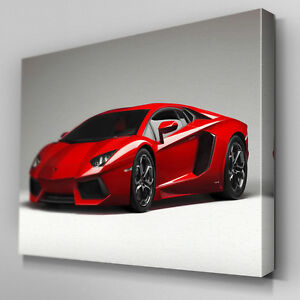 Cars493 Red La Ferrari Right Angle Canvas Art Ready to Hang Picture Print