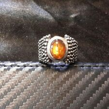 SILPADA RARE RETIRED Beaded Sterling Silver 925 Amber Cabochon Ring Sz 7 R0893