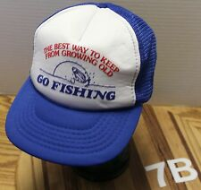 """VINTAGE """"THE BEST WAY TO KEEP FROM GROWING OLD...GO FISHING"""" TRUCKERS HAT VGC"""