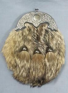 Fox Fur Scottish Dress Kilt Sporran/Highland Kilts Sporrans Black Leather Foxfur