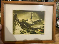 Antique Print Cyril A Lewis Montauk lighthouse nautical maritime Original