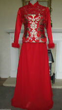 TRADITIONAL CHINESE RED 2 PIECE WEDDING DRESS 8