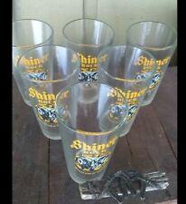 6 SHINER BOCK Ram Logo Pint Beer Glasses 16 Oz Man Cave Barware EUC