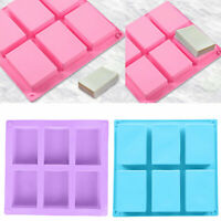 6 Cavity Rectangle Silicone Soap Making Molds DIY Mold Cake Bakeware Mould Tool