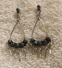 Exceptional L Vintage ZUNI Sterling Silver TURQUOISE Needle Point EARRINGS