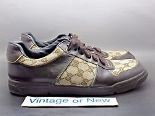 Gucci Brown Beige Signature Monogram Canvas Leather Sneaker 162961 sz 8.5