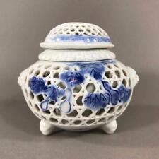 Antique Japanese Hirado Reticulated Porcelain Koro Incense Burner, NO RESERVE!