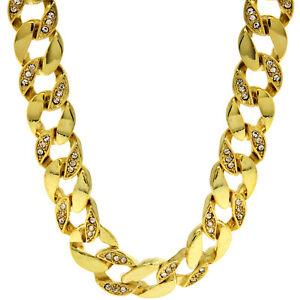 "Mens 14k Gold Plated Hip Hop CZ 15mm 30"" Miami Cuban Chain Necklace"