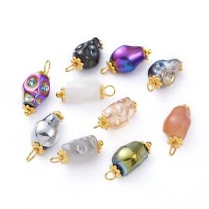 10 Glass Skull Charms Mixed Lot Halloween Findings Jewelry 17mm Gothic Skeleton