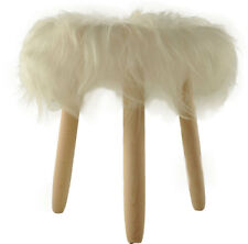 Lambskin Stool White round Wood Legs Ø 14 3/16in Eco Island fur Stool Long Wool