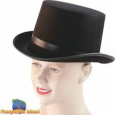 VICTORIAN BLACK BUDGET TOP HAT Mens Fancy Dress Costume Accessory