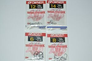 4 packs owner wacky minnow mosquito nose hook 5177 assortment size 6 8 12 14
