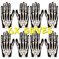 6X ADULT SKELETON GLOVES  BONE PRINT ZOMBIE HORROR HALLOWEEN COSTUME ACCESSORY