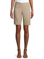 NEW TIME AND TRU WOMEN'S MILLENIUM TAN MID RISE STRETCH SLIMMING BERMUDA SHORTS