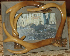 River's Edge Barnwood 4 x 6 Picture Frame w/ Poly Resin Deer Antlers View 2 Ways