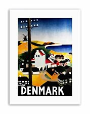 DENMARK VILLAGE SEA WINDMILL VIEW Poster Travel Canvas art Prints