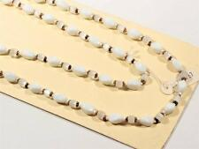 """satin atlas white pinched glass beads Sample card 33"""" Vintage Czech necklace"""