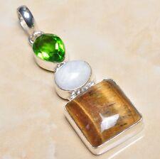 "Handmade Golden Tiger's Eye Gemstone 925 Sterling Silver Pendant 2.5"" #P03169"