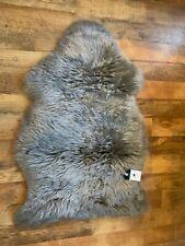 luxury quality hanlins pure wool sheepkin rugs  GREY
