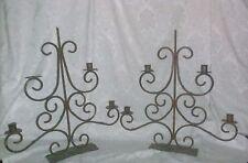 Victorian Renaissance Goth Steam Scroll Distress Iron Candelabra Set Candle Wax